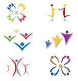 Conjunto de comunidad/de iconos sociales de la red Imágenes de archivo libres de regalías