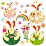 Conjunto de conejo colorido y primavera floral libre illustration