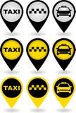 Conjunto de contactos del taxi Imágenes de archivo libres de regalías