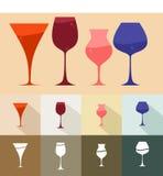 Conjunto de copa de vino Foto de archivo libre de regalías