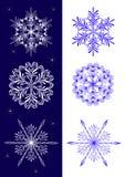 Conjunto de copos de nieve. Fotografía de archivo