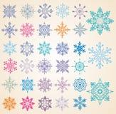 Conjunto de copos de nieve. Fotos de archivo