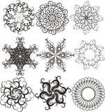 Conjunto de copos de nieve Fotos de archivo libres de regalías