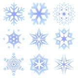 Conjunto de copos de nieve Foto de archivo