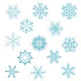 Conjunto de copos de nieve Fotografía de archivo libre de regalías