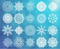 Conjunto de copos de nieve Fotografía de archivo