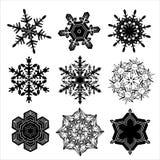 Conjunto de copos de nieve adornados Imagen de archivo