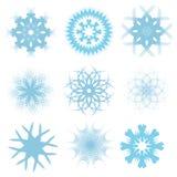 Conjunto de copos de nieve azules Imagen de archivo