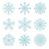 Conjunto de copos de nieve del vector Fotos de archivo