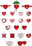 Conjunto de corazones Foto de archivo libre de regalías