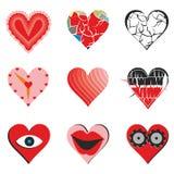 Conjunto de corazones Imagenes de archivo