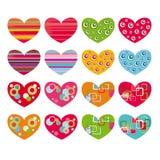 Conjunto de corazones Imágenes de archivo libres de regalías
