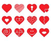Conjunto de corazones Fotos de archivo