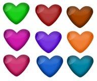 Conjunto de corazones brillantes en nueve colores Imágenes de archivo libres de regalías