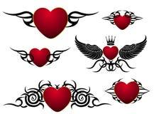 Conjunto de corazones cariñosos, diseño del tatuaje Fotos de archivo