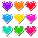 Conjunto de corazones coloreados Foto de archivo libre de regalías