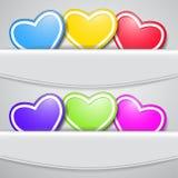 Conjunto de corazones coloreados Imagenes de archivo