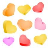 Conjunto de corazones coloridos Fotos de archivo