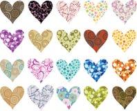 Conjunto de corazones de las tarjetas del día de San Valentín Fotografía de archivo libre de regalías
