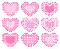Conjunto de corazones del applique. Fotografía de archivo