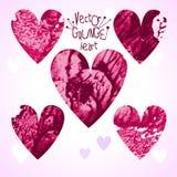 Conjunto de corazones del grunge Fotos de archivo