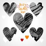 Conjunto de corazones del grunge Fotografía de archivo