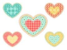 Conjunto de corazones del remiendo. Imagen de archivo