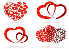 Conjunto de corazones estilizados Foto de archivo libre de regalías