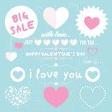 Conjunto de corazones felices del amor del día de tarjetas del día de San Valentín Fotografía de archivo libre de regalías