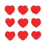 Conjunto de corazones Formas del amor de la colección de sellos para su diseño Muestras texturizadas del día del ` s de la tarjet Imagen de archivo libre de regalías