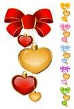 Conjunto de corazones hermosos con el arqueamiento Fotos de archivo libres de regalías