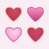 Conjunto de corazones rojos Foto de archivo libre de regalías
