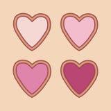Conjunto de corazones rojos Imagen de archivo