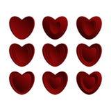 Conjunto de corazones rojos Imágenes de archivo libres de regalías