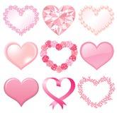 Conjunto de corazones rosados Fotografía de archivo libre de regalías