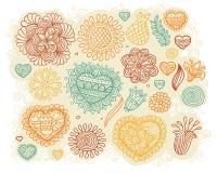 Conjunto de corazones y de flores del doodle Foto de archivo libre de regalías