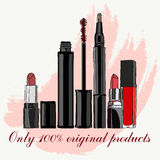 Conjunto de cosméticos Foto de archivo libre de regalías