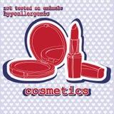Conjunto de cosméticos sticker Fotos de archivo