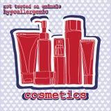 Conjunto de cosméticos sticker Foto de archivo libre de regalías