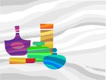 Conjunto de cosméticos y de perfume ilustración del vector