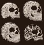 Conjunto de cráneos mexicanos del azúcar Fotografía de archivo libre de regalías
