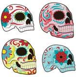 Conjunto de cráneos mexicanos del azúcar Foto de archivo libre de regalías