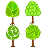 Conjunto de cuatro árboles verdes abstractos Imagenes de archivo