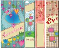 Conjunto de cuatro banderas temáticas del amor Fotos de archivo