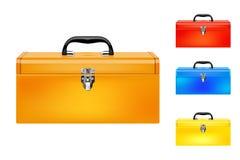 Conjunto de cuatro cajas de herramientas coloreadas ilustración del vector