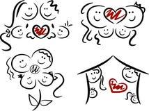 Conjunto de cuatro de familias/iconos del amor Foto de archivo libre de regalías