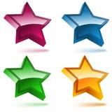 Conjunto de cuatro estrellas brillantes 3D. ilustración del vector