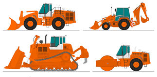 Conjunto de cuatro máquinas de la construcción Foto de archivo libre de regalías
