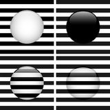 Conjunto de cuatro rayas blancos y negros del círculo de cristal Imagenes de archivo