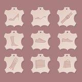 Conjunto de cuero del icono Imagen de archivo libre de regalías
